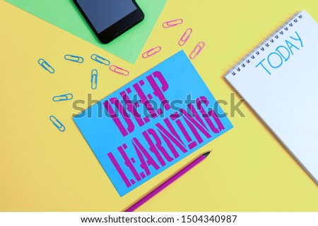 Word writing text Deep Learning. Business concept for Hierarchical Abstractions Artificial Intelligence Algorithm Blank spiral notepad pencil clips smartphone paper sheets color background.