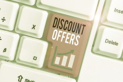 Word writing text Discount Offers. Business concept for amount or percentage deducted from the normal selling price.