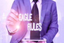 Word writing text Eagle Rules. Business concept for a huge set of design rules which your layout needs to pass.