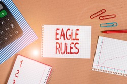 Word writing text Eagle Rules. Business concept for a huge set of design rules which your layout needs to pass Striped paperboard notebook cardboard office study supplies chart paper.