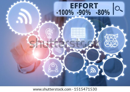 Word writing text Effort 100 Percent 90 Percent 80 Percent. Business concept for Level of determination discipline motivation Woman wear formal work suit presenting presentation using smart device.