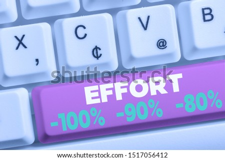 Word writing text Effort 100 Percent 90 Percent 80 Percent. Business concept for Level of determination discipline motivation White pc keyboard with empty note paper above white background key copy