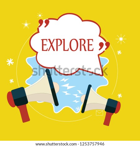 Word writing text Explore. Business concept for Travel somewhere unknown to learn about it Examine Evaluate