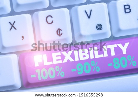 Word writing text Flexibility 100 Percent 90 Percent 80 Percent. Business concept for How much flexible you are maleability level White pc keyboard with empty note paper above white background key