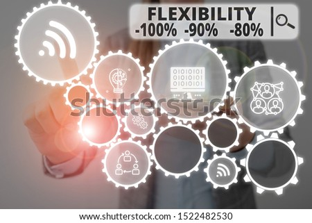 Word writing text Flexibility 100 Percent 90 Percent 80 Percent. Business concept for How much flexible you are maleability level Woman wear formal work suit presenting presentation using smart device