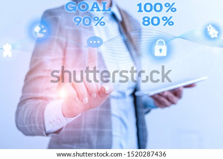 Word writing text Goal 100 Percent 90 Percent 80 Percent. Business concept for Percentage of your objectives fulfilment success level Female human wear formal work suit presenting presentation use