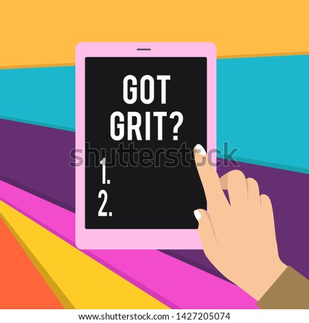 Word writing text Got Grit Question. Business concept for A hardwork with perseverance towards the desired goal Female Hand with White Polished Nails Pointing Finger Tablet Screen Off.