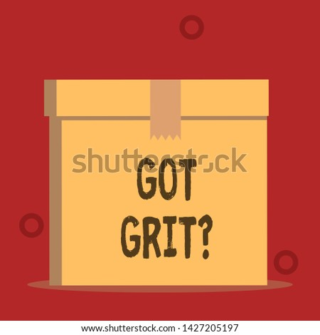 Word writing text Got Grit Question. Business concept for A hardwork with perseverance towards the desired goal Close up front view open brown cardboard sealed box lid. Blank background.