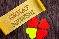 Word, writing, text  Great News. Conceptual photo Success Newspaper Information Celebration written Sticky Note Paper with Love Heart Next to it the wooden background.