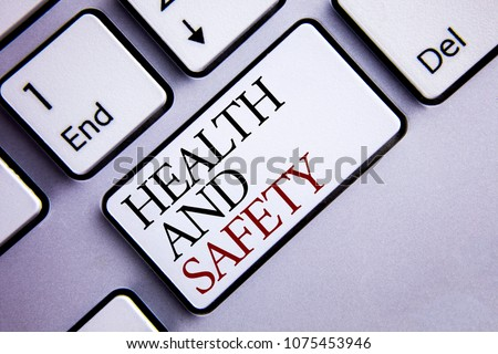 Word writing text Health And Safety. Business concept for being in good condition harmless Workouts Healthy food written on White Keyboard Key with copy space. Top view.