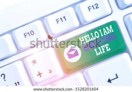 Word writing text Hello I Am Enjoying Life. Business concept for Happy relaxed lifestyle Enjoy simple things White pc keyboard with empty note paper above white background key copy space.