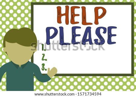 Word writing text Help Please. Business concept for used to make a request or deanalysisd for someone for assistance Young man standing in front whiteboard pointing to project. photo Art.