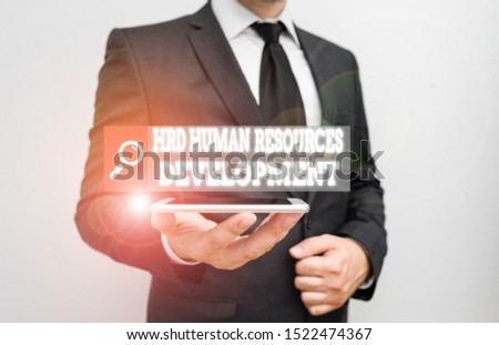 Word writing text Hrd Huanalysis Resources Development. Business concept for helping employees develop demonstratingal skills.