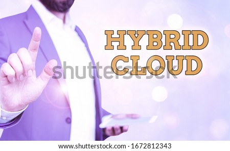 Word writing text Hybrid Cloud. Business concept for computing environment that combines public and a private cloud. stock photo