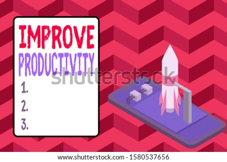 Word writing text Improve Productivity. Business concept for to increase the machine and process efficiency Ready to launch rocket lying smartphone. Startup negotiations to begin.