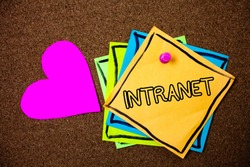 Word writing text Intranet. Business concept for Private network of a company Interlinked local area networks Ideas messages paper pink heart cork background love lovely thoughts.