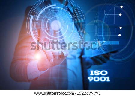 Word writing text Iso 9001. Business concept for designed help organizations to ensure meet the needs of customers Woman wear formal work suit presenting presentation using smart device. #1522679993