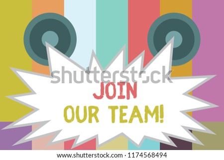 Word writing text Join Our Team. Business concept for Hiring Vacancy Human resource recruitment Manpower hunt