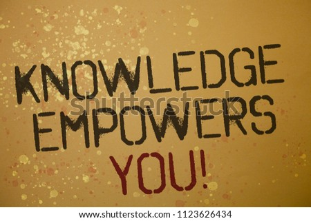 Word writing text Knowledge Empowers You Call. Business concept for Education responsible to achieve your success Ideas messages brown background splatters grunge intentions reflections.