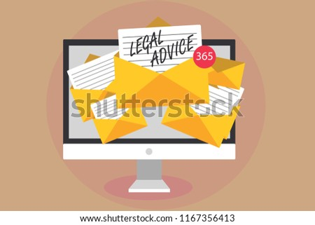 Word writing text Legal Advice. Business concept for Lawyer opinion about law procedure in a particular situation Computer receiving emails important messages envelopes with papers virtual. Foto stock ©