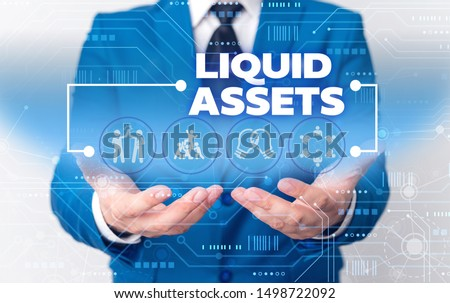 Word writing text Liquid Assets. Business concept for Cash and Bank Balances Market Liquidity Deferred Stock Male human wear formal work suit presenting presentation using smart device. #1498722092