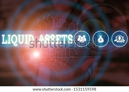 Word writing text Liquid Assets. Business concept for Cash and Bank Balances Market Liquidity Deferred Stock Woman wear formal work suit presenting presentation using smart device. #1531159598