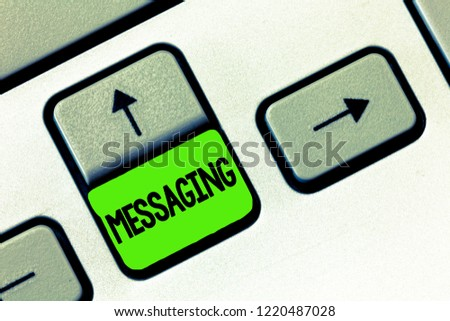 Word writing text Messaging. Business concept for Communication with others through messages Texting Chatting #1220487028