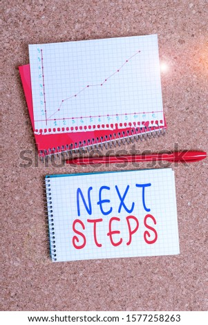 Word writing text Next Steps. Business concept for numper of process going to be made after current one planning Desk notebook paper office cardboard paperboard study supplies table chart. #1577258263