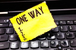 Word writing text One Way. Business concept for Only direction Street sign Traffic regulation route indication