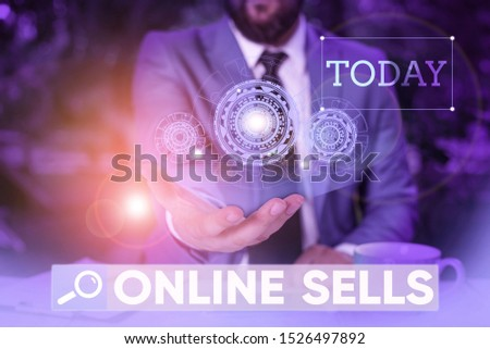 Word writing text Online Sells. Business concept for sellers directly sell goods or services over the Internet Male human wear formal work suit presenting presentation using smart device.