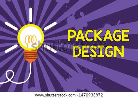Word writing text Package Design. Business concept for Strategy in creating unique product wrapping or container Big idea light bulb. Successful turning idea invention innovation. Startup.