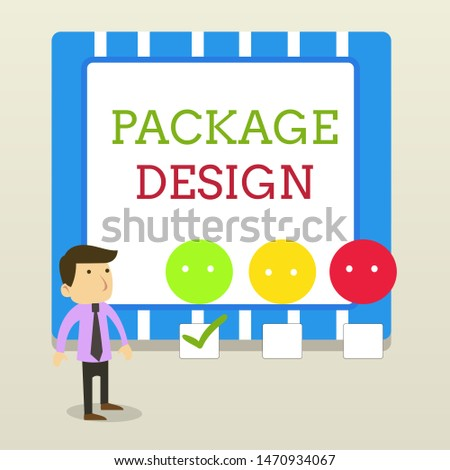 Word writing text Package Design. Business concept for Strategy in creating unique product wrapping or container White Male Questionnaire Survey Choice Checklist Satisfaction Green Tick.