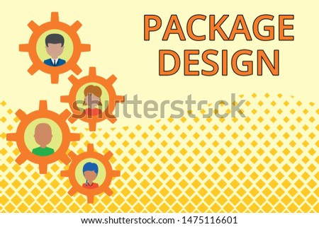 Word writing text Package Design. Business concept for Strategy in creating unique product wrapping or container Gearshaped picture frame family ornament mother father daughter son photo.