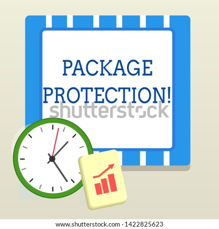Word writing text Package Protection. Business concept for Wrapping and Securing items to avoid damage Labeled Box Layout Wall Clock Notepad with Escalating Bar Graph and Arrow Pointing Up.