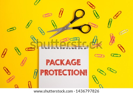 Word writing text Package Protection. Business concept for Wrapping and Securing items to avoid damage Labeled Box Blank no color spiral notepad scissors clips colored background design.