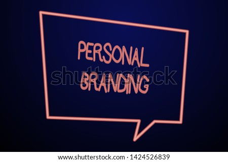 Word writing text Personal Branding. Business concept for Practice of People Marketing themselves Image as Brands Empty Quadrangular Neon Copy Space Speech Bubble with Tail Pointing Down.