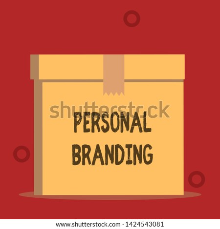 Word writing text Personal Branding. Business concept for Practice of People Marketing themselves Image as Brands Close up front view open brown cardboard sealed box lid. Blank background.