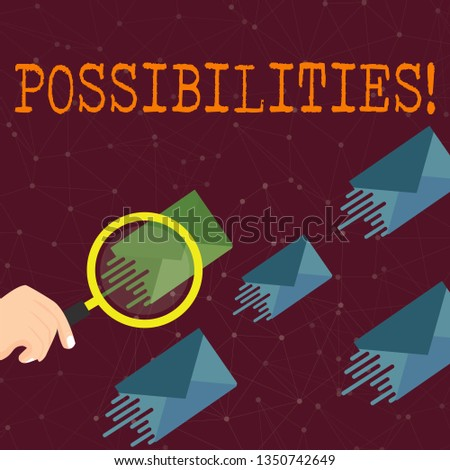 Word writing text Possibilities. Business concept for Things that may happen or be the case State of being possible Magnifying Glass on One Different Color Envelope and others has Same Shade.