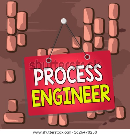 Word writing text Process Engineer. Business concept for responsible for developing new industrial processes Colored memo reminder empty board blank space attach background rectangle.