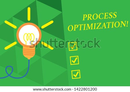 Word writing text Process Optimization. Business concept for Improve Organizations Efficiency Maximize Throughput Big idea light bulb. Successful turning idea invention innovation. Startup.