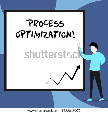 Word writing text Process Optimization. Business concept for Improve Organizations Efficiency Maximize Throughput View young man standing pointing up blank rectangle Geometric background.