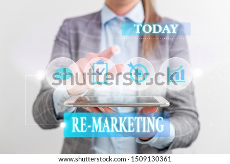 Word writing text Re Marketing. Business concept for Strategy to reach potential customers in your website Female human wear formal work suit presenting presentation use smart device.