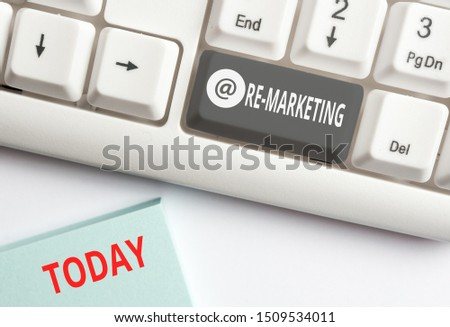 Word writing text Re Marketing. Business concept for Strategy to reach potential customers in your website White pc keyboard with empty note paper above white background key copy space.