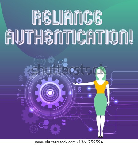Word writing text Reliance Authentication. Business concept for part of trust based identity attribution process Woman Standing and Presenting the SEO Process with Cog Wheel Gear inside.