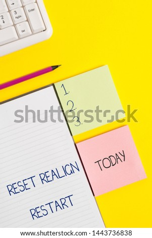 Word writing text Reset Realign Restart. Business concept for Life audit will help you put things in perspectives. #1443736838