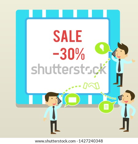 Word writing text Sale 30 Percent. Business concept for A promo price of an item at 30 percent markdown Businessmen Coworkers Conference Call Conversation Discussion Mobile Phones.