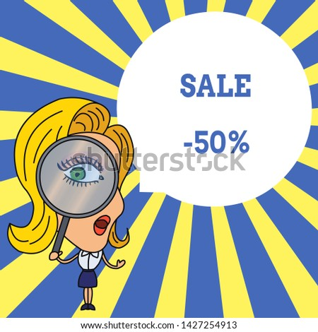 Word writing text Sale 50 Percent. Business concept for A promo price of an item at 50 percent markdown Woman Looking Trough Magnifying Glass Big Eye Blank Round Speech Bubble.
