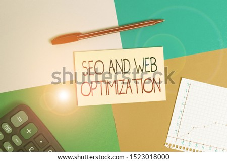 Word writing text Seo And Web Optimization. Business concept for Search Engine Keywording Marketing Strategies Office appliance colorful square desk study supplies empty paper sticker.