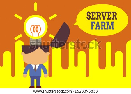 Word writing text Server Farm. Business concept for a group of computers acting as servers and housed together Standing successful man suit necktie surging brilliant innovative solutions.