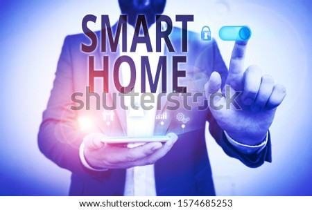 Word writing text Smart Home. Business concept for automation system control lighting climate entertainment systems Male human wear formal work suit presenting presentation using smart device. #1574685253